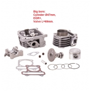 Motorolerio variklio cilindras galvutė GY6 70cc 80cc komplektas