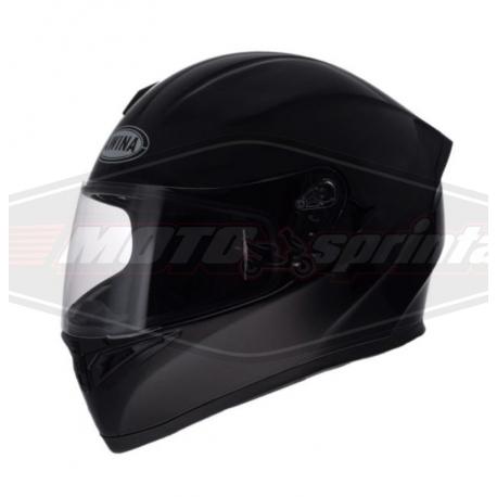 Motociklo šalmas su akiniais nuo saulės, juodas, blizgus.